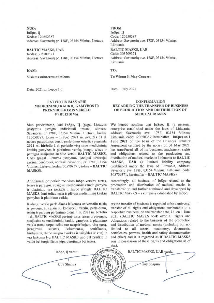 CONFIRMATION_REGARDING_THE_TRANSFER_OF_BUSINESS
